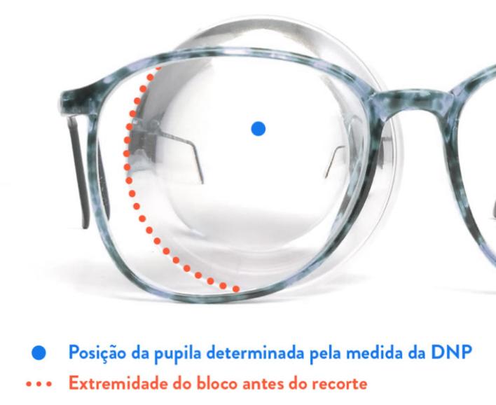 3bc1d82aa Quando a armação é muito grande, ela pode ser maior que o bloco da lente,  impossibilitando a montagem do óculos. Veja um exemplo disso abaixo: