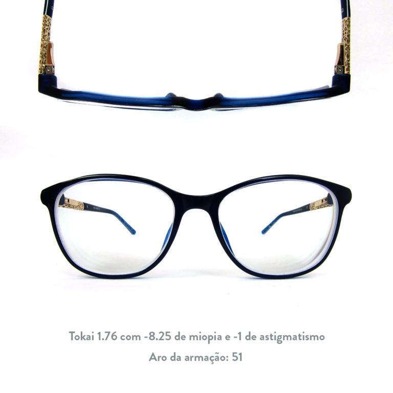 d213bbbdd Veja um exemplo de como fica o resultado de um óculos com mais de 4 graus,  de aro fechado e bordas mais espessas no tamanho recomendado para o grau: